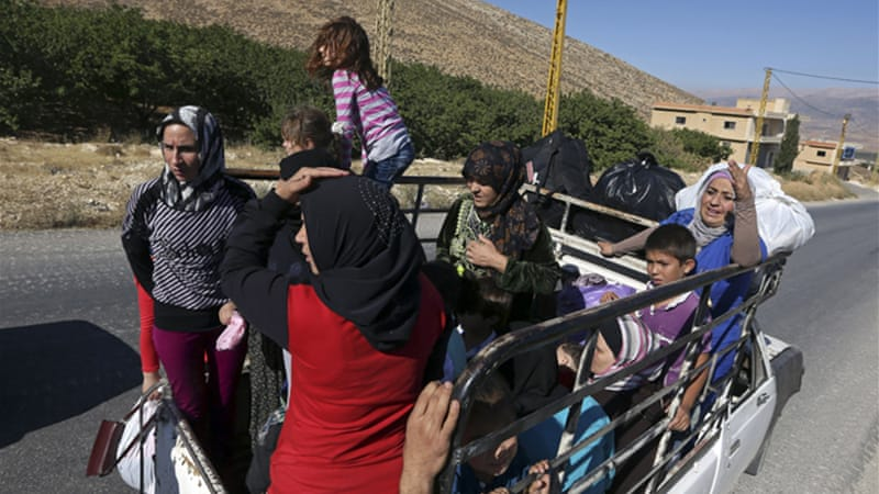 Many residents have fled Arsal after clashes broke out between Syrian fighters and the Lebanese army. [AP]