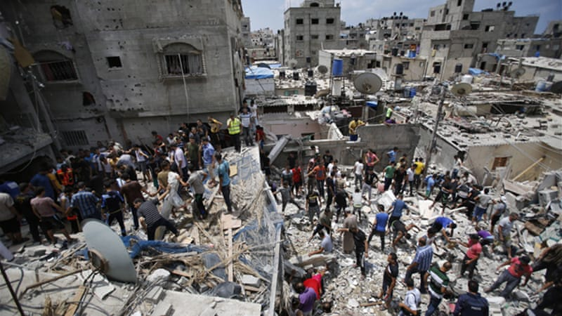 More than 1,800 Palestinians, and 66 Israelis, have been killed since July 8 [AP]