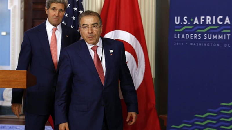 John Kerry, US secretary of state, met his Tunisian counterpart Mongi Hamdi in Washington on Tuesday [Reuters]