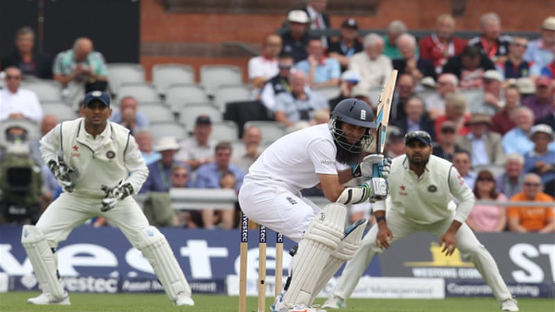 England batsman Moeen Ali ducks to avoid a high ball during the fourth Test at Old Trafford in Manchester [AFP]