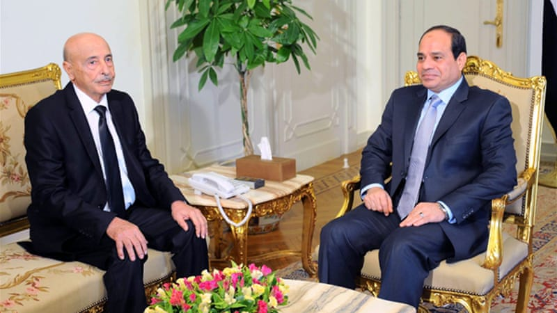 Egyptian President Abdel Fatah el-Sisi meets with the speaker of Libya's House of Representatives in Cairo [EPA]