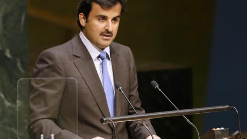 Sheikh Tamim Bin Hamad Al Thani, Emir of Qatar, speaks during the 69th session of the United Nations General Assembly at the UN headquarters [AP]