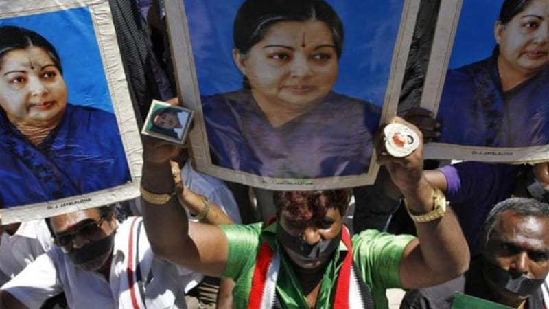 Jayalalithaa, who enjoys a cult following in Tamil Nadu, was found guilty of amassing illegal wealth [Reuters]