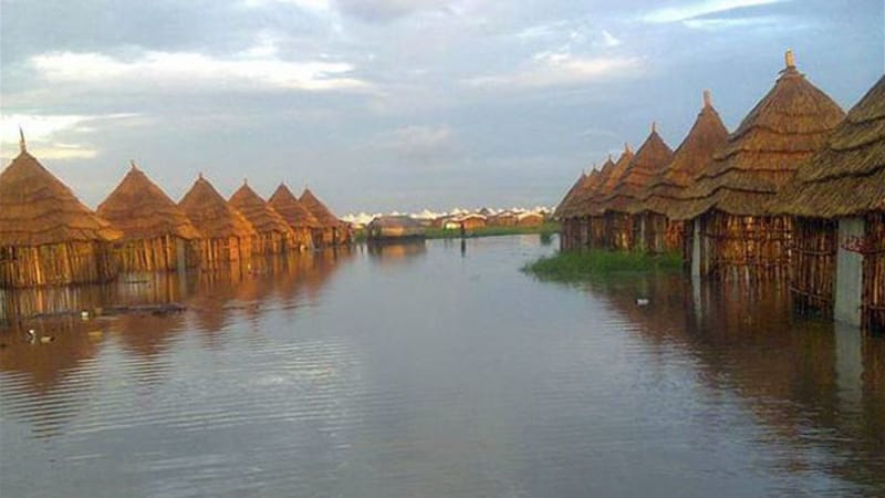 Heavy rains and storms caused damage and flooding to the Lietchuor camp in Ethiopia's Gambella region [AP]
