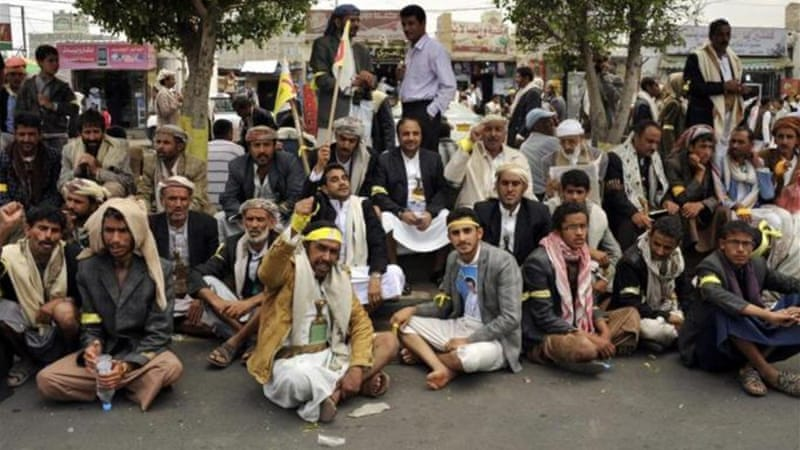 The movement's leader, Abdelmalek al-Houthi, said they they will leave Sanaa when their demands are met [EPA]