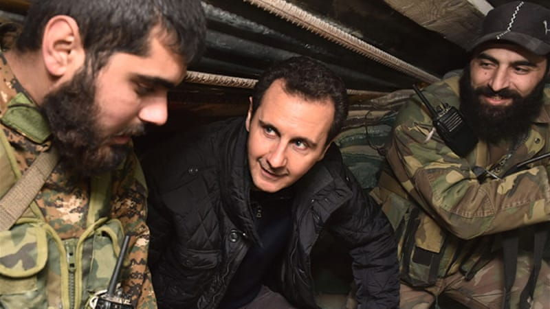 "Syrian President Bashar al-Assad praised soldiers for their victories ""in the face of terrorism"" [EPA]"
