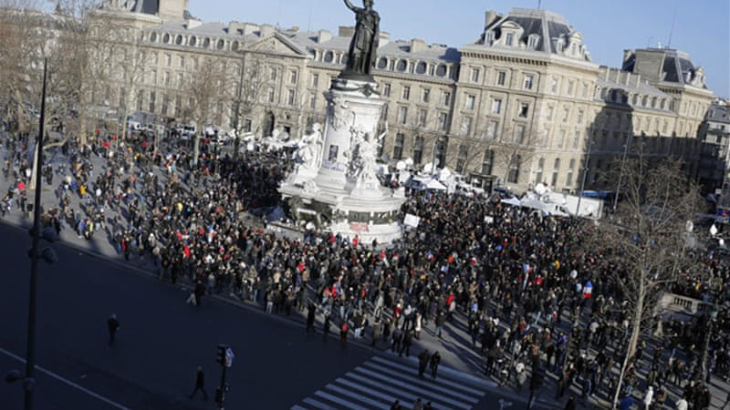 People started gathering at Place de la Republique long before the start of the demonstration in Paris [AP]