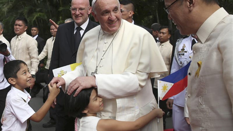 Pope Francis is on a five-day trip in the Philippines [AP]