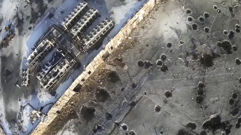 Drone footage shows craters from intense shelling of the airport [Reuters]