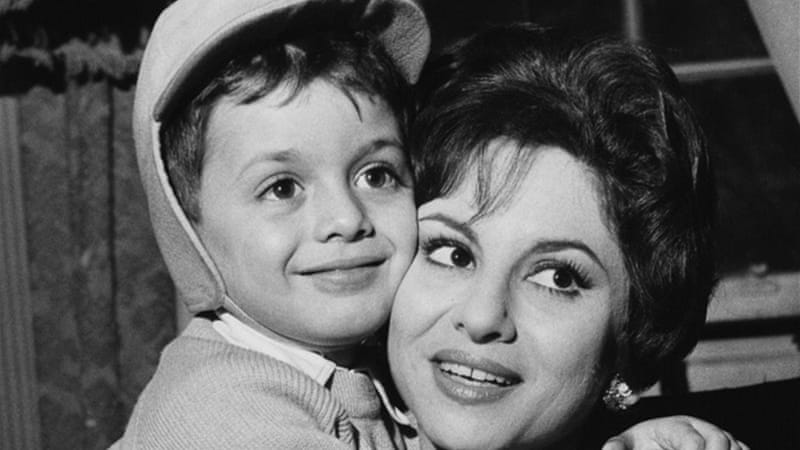 Faten Hamama, here with her son Tarek, was in the film industry for almost 75 years [Getty Images]