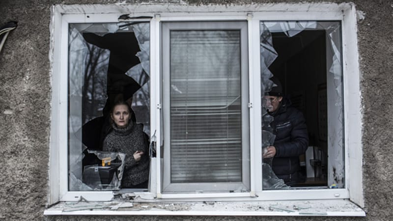 Continued fighting has severely damaged buildings throughout the industrial city of Donetsk [AP]