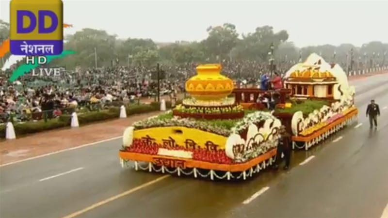 The parade celebrates the adoption in 1950 of the Indian Constitution and the day India became a republic  [Screenshot]