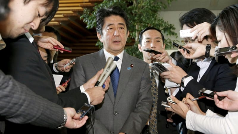 PM Abe was criticised over an earlier $200m pledge to help refugees fleeing ISIL-controlled areas [AP]