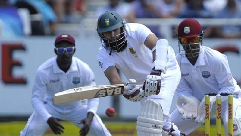 Captain Amla's presence at the crease means the West Indian bowlers have their work cut out [AFP]