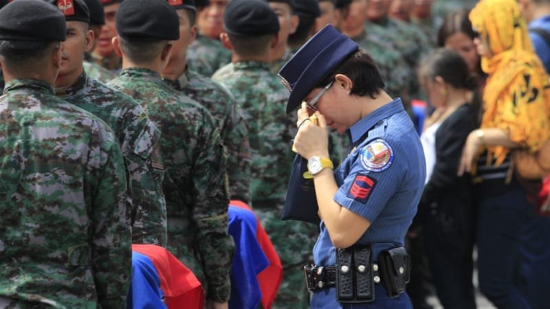 The 44 police commandos were killed during a botched anti-terror operation in the southern Philippines [Reuters]