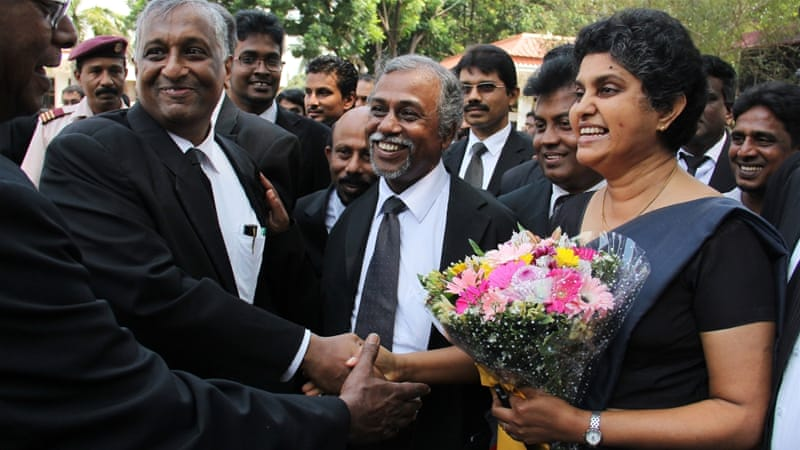 Former chief justice Shirani Bandaranayake was formally restored to her post before stepping down on Thursday [AFP]