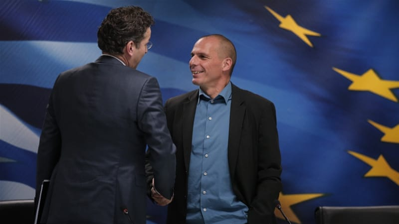 Greece's Finance Minister Yanis Varoufakis, right, will travel to Paris in a bid to form alliances within the EU [AP]