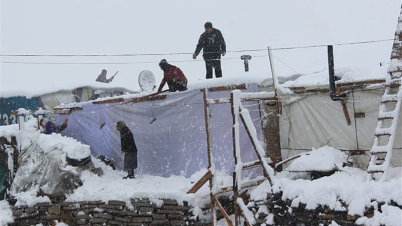 The refugees were the hardest hit by a recent storm, struggling to stay alive in their makeshift tents [AFP]