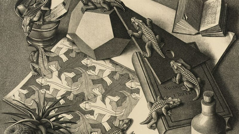 the life and art of mc escher Art history us history world maurits cornelis escher, more popularly known as mc escher, was born in the infinity, and tessellation his first work was a woodcut print done in 1937 titled still life and street which showed books resting on two adjacent buildings, a.