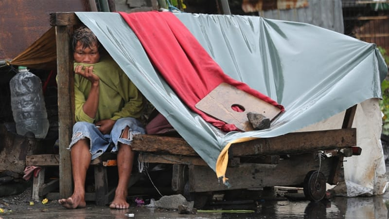 Thousands of people have been displaced as the typhoon hit the northern Philippines [Aaron Favila/AP]