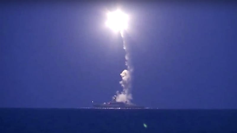 Russian warships launched rockets for the first time into Syria from the Caspian Sea on Wednesday [Russian Defense Ministry/AP]