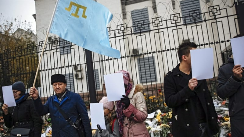 Tatars, a Muslim minority population in Ukraine, have protested the Russian annexation of the Crimean peninsula [EPA]