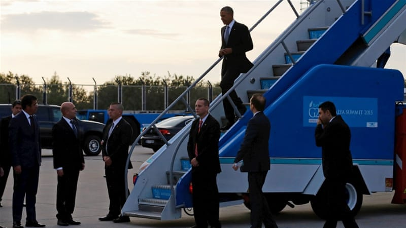 US President Obama arrived in Antalya on Sunday and is expected to hold a one-on-one meeting with President Erdogan [Reuters]