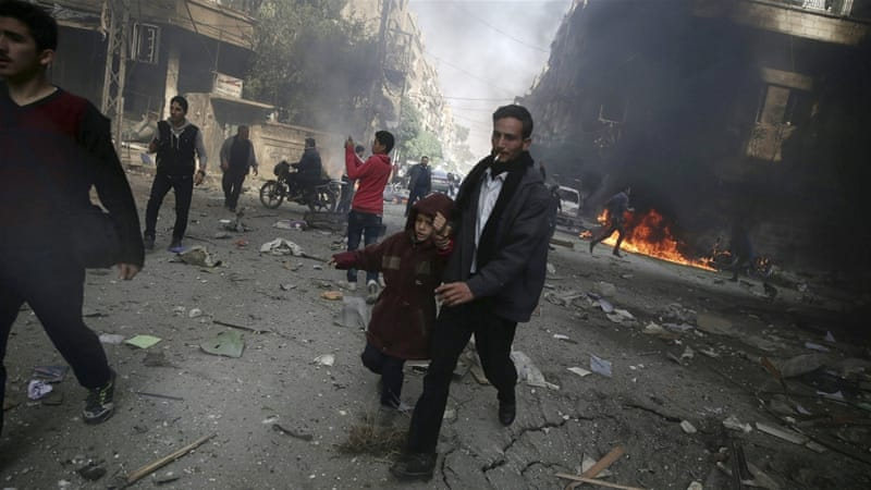 A site hit by what activists said were air strikes by forces loyal to Bashar al-Assad in Damascus [REUTERS]