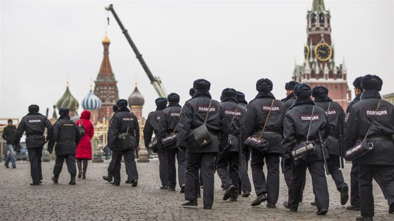 Airports, public transport and places of large gatherings had already seen security beefed up [Pavel Golovkin/AP]