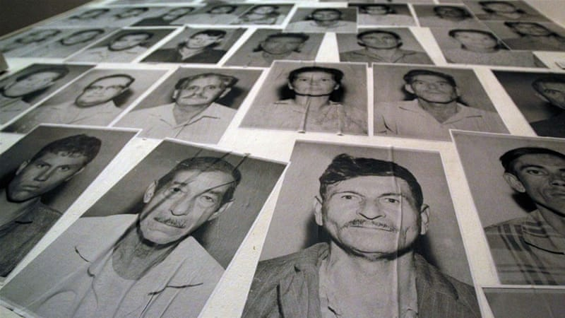 Portraits of missing persons, victims of Operation Condor during the Paraguayan dictatorship of Alfredo Stroessner [AP]