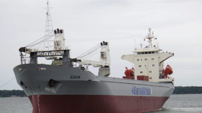 The cargo ship was en route from Antwerp to the Nigerian port of Onne [EuroAfrica Sea Lines/EPA]