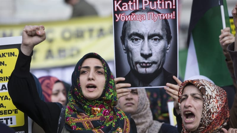 "Putin has warned of a ""creeping Islamisation of Turkey that would have Ataturk rolling in his grave"" [EPA]"