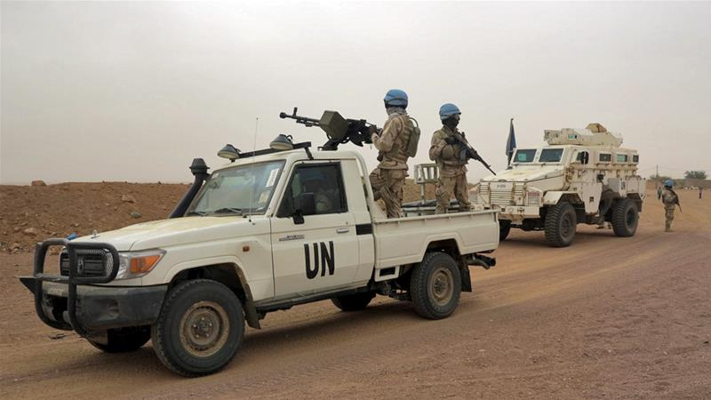 UN peacekeepers patrol in Kidal in northern Mali in July [Adama Diarra/Reuters]
