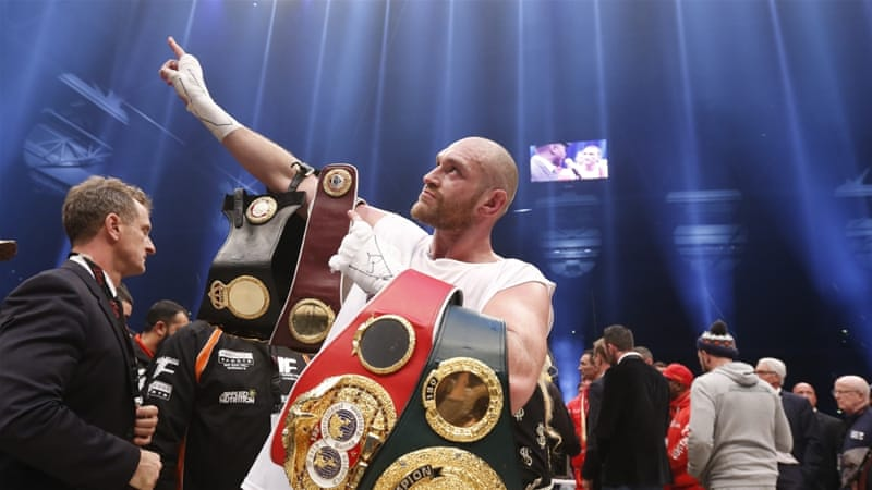 Tyson Fury now holds the IBF, WBO and WBA titles and becomes the first Briton to hold a world heavyweight crown since 2009 [Reuters]