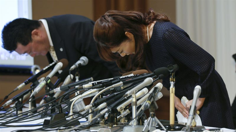Japanese scientist Haruko Obokata bowed in apology at a news conference in Osaka on April 9 [Kimimasa Mayama/ EPA]