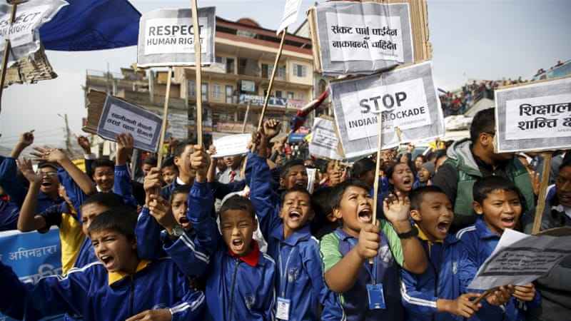 People in Nepal's capital city Kathmandu have suffered fuel and cooking gas shortages after protesters blocked supplies from India [EPA]