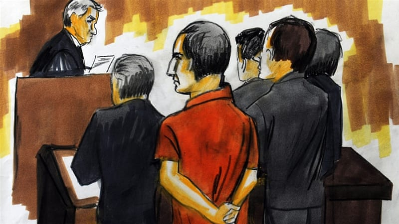 An artist's courtroom sketch of David Headley (middle) as he stands trial in the US city of Chicago in 2010 [EPA]