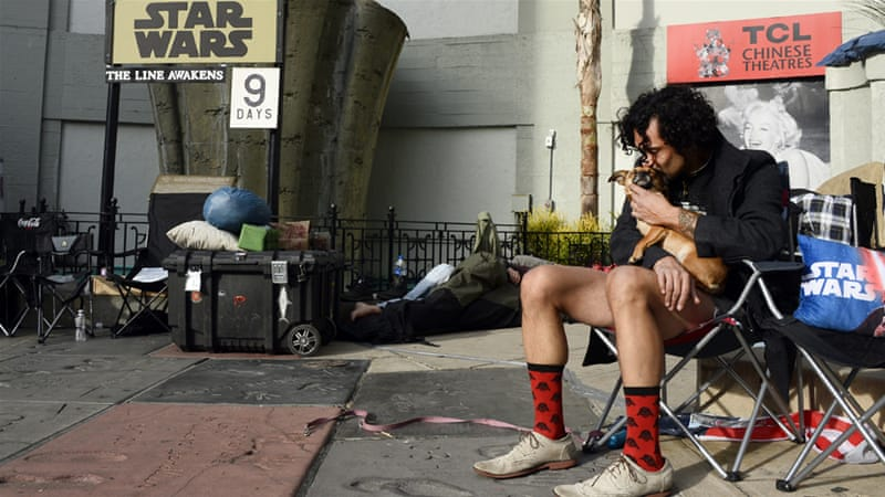 Fans in Los Angeles have been camping out for days to buy tickets to 'Star Wars - The Force Awakens' [Paul Buck/EPA]