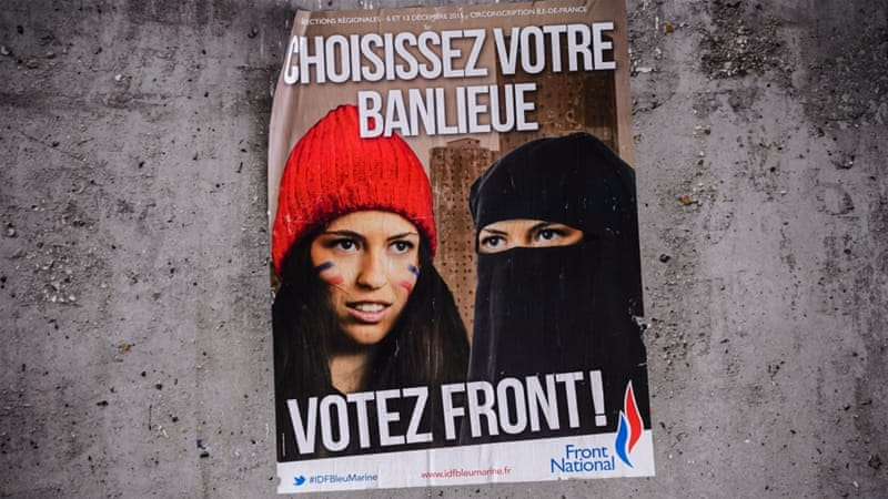 An election campaign poster for National Front party reads ''Choose Your Suburb - Vote Front'' [EPA]