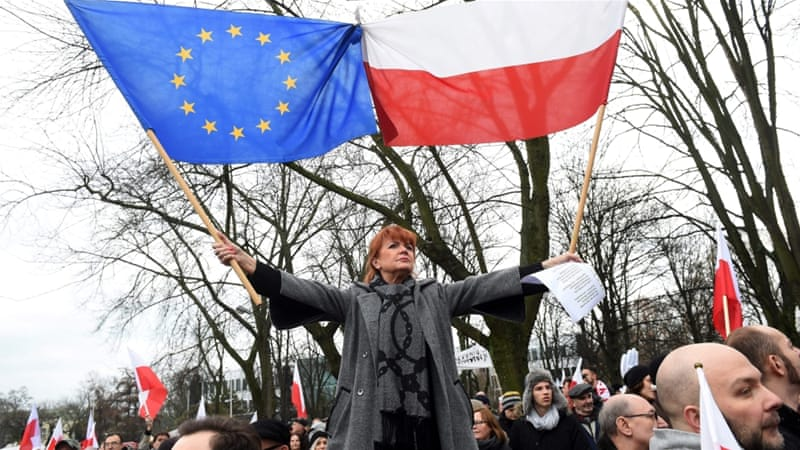 Demonstrations were held in 21 Polish cities as well as in London, Brussels and Tokyo [EPA]