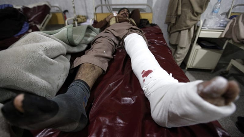 At least 39 people were injured in the northwestern Pakistani city of Peshawar [EPA]
