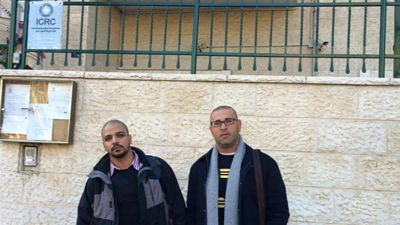 Abu Eisheh, left, and Hijazi Abu Sbeih are defying an Israeli order to leave Jerusalem by camping at the Red Cross [Photo courtesy of Samer Abu Eisheh]
