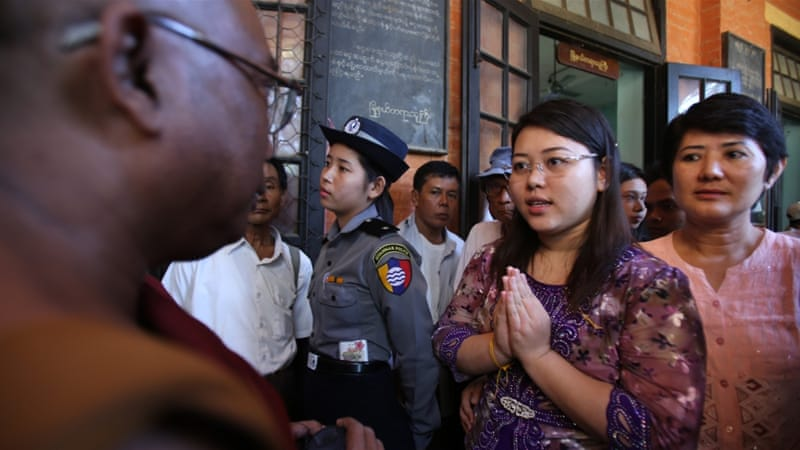 Student Chaw Sandi Tun speaks with a Buddhist monk after her hearing at court in Maubin, Myanmar [File pic - Hau Dinh/AP]