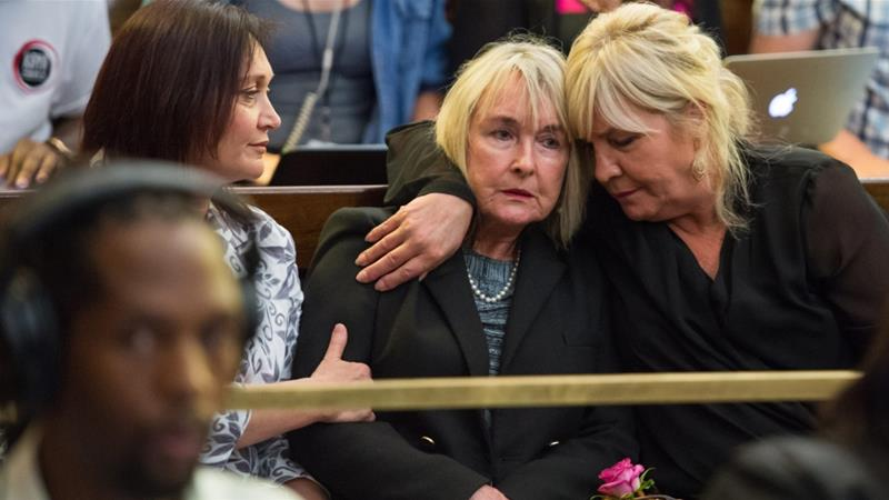 Reeve's mother June (C) reacts after the upgraded verdict was announced [EPA]