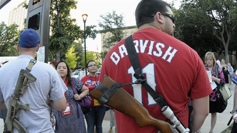 Americans, especially in the country's south, exercise their right to carry guns in public [AP]