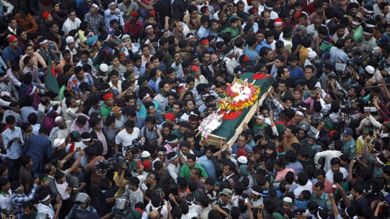 Mourners carry the coffin of Bangladeshi blogger Haider during his funeral in Dhaka on February 16, 2013 [File: Pavel Rahman/AP]