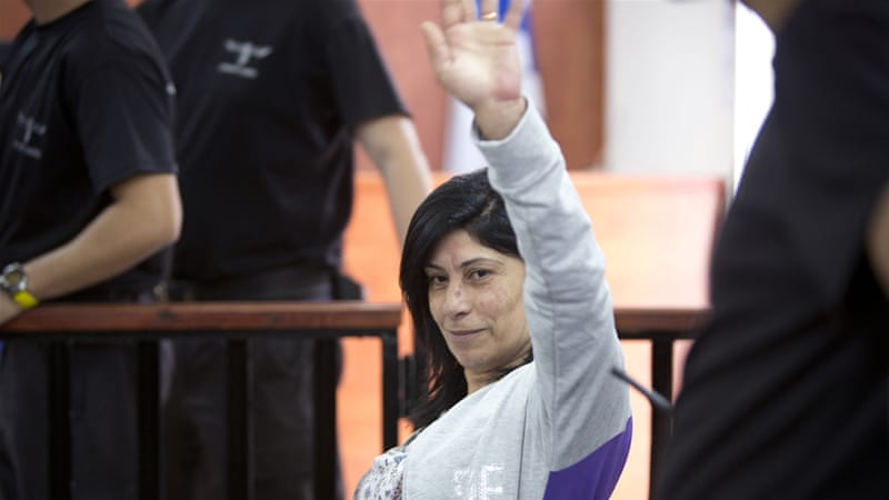 Jarrar, 52, was seized from her West Bank home in a pre-dawn army raid on April 2 [Majdi Mohammed/AP]