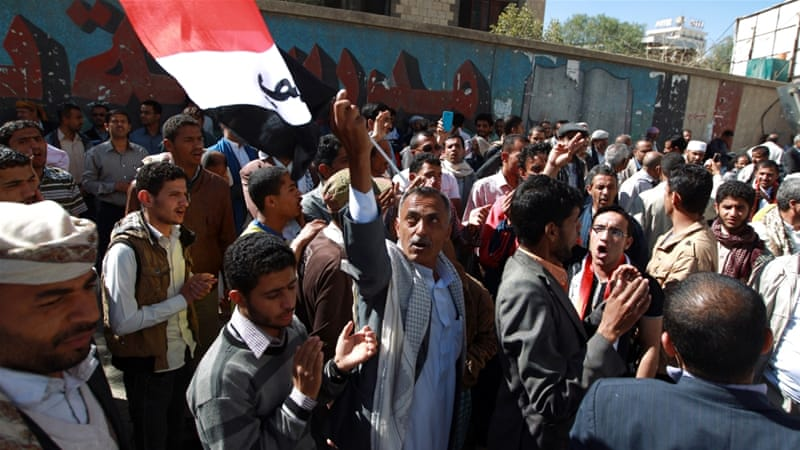 Tens of thousands of Yemenis have protested against the Houthis' takeover of power [AFP]