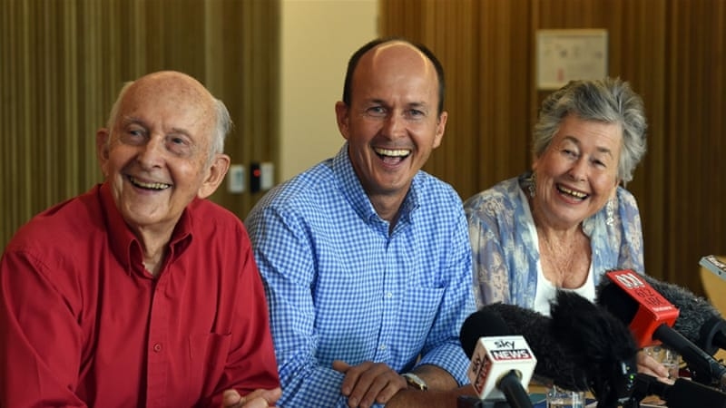 Peter's Greste's brother Andrew (centre), mother and father said his excitement was tempered [EPA]
