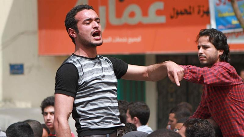 Leading anti-Mubarak activist Ahmed Douma was one of the 269 defendants found guilty of rioting [AP]